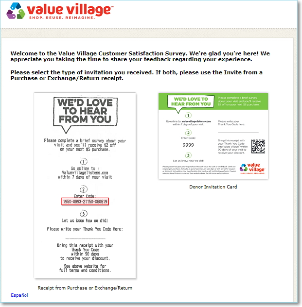 Www.ValueVillageListens.Com homepage